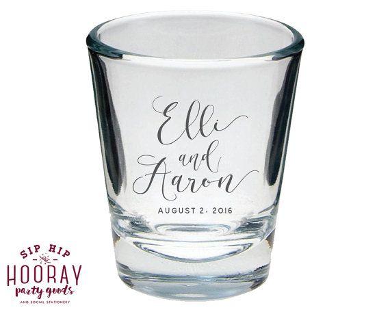 Wedding Shot Glasses Favors Monogrammed Glass Personalized Favor Custom