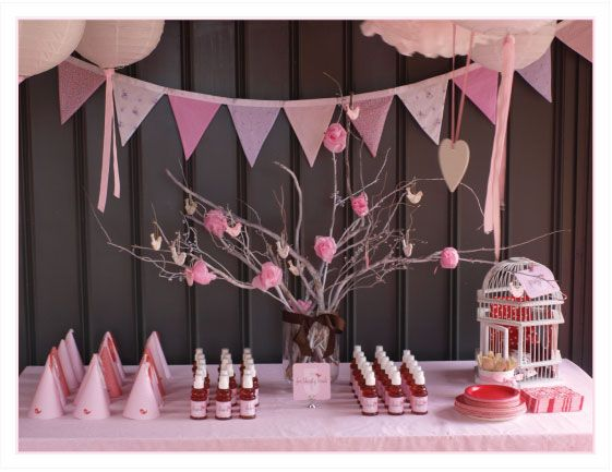Pink birthday party decoration