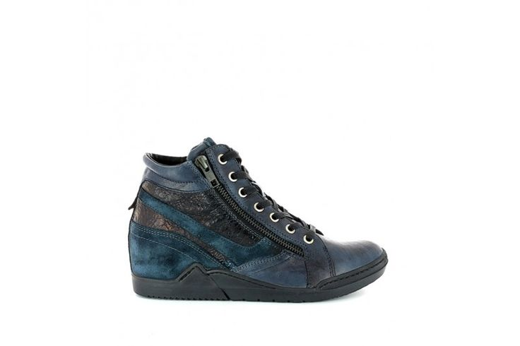 Hola 3802 Rodeo Artico - Sport Bleu - Laced up sneakers with double side zip, in real leather vintage look with metallic and suede inserts. Rubber sole 1 cm high and removable leather platform insole 4 cm high.