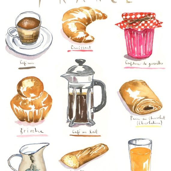 French Breakfast Menu Print Watercolor Painting Food Illustration Croissant Poster France Wall Art French Kitchen Decor Travel Gift Watercolor Food Illustration Food Illustrations Menu Illustration