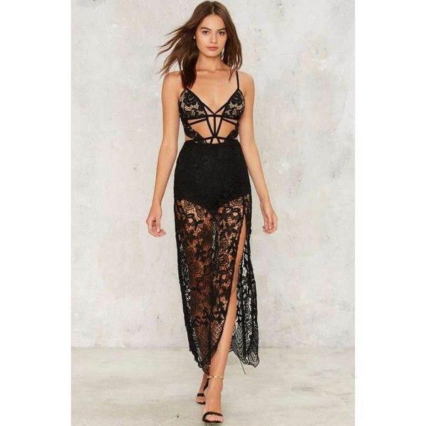 Beautiful Nightmare Lace Maxi Skirt (89 CAD) ❤ liked on Polyvore featuring skirts, black, maxi skirts, high-waist skirt, floor length maxi skirt, long maxi skirts and slit maxi skirt