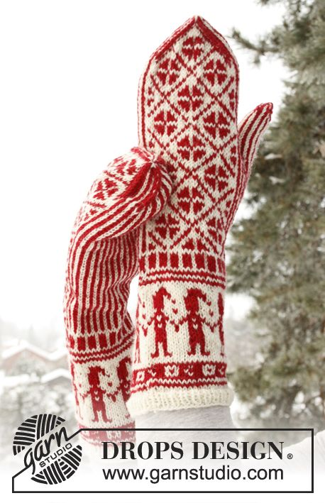 """Knitting - Free Pattern: """"Knitted DROPS mittens with Christmas pattern in """"Fabel"""". ~ DROPS Design"""" - Level: intermediate."""