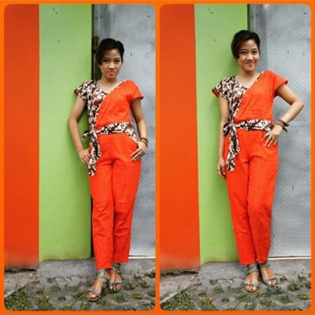 Repost from @ka_runia. Thank you dear.  She came to me with this emboss and ask for #jumpsuit that have long pants. Off course I put #batik with #lawasan motif to make it #chic and #fun. I'm doing something fun #happybussines #madetomeasure #custommade
