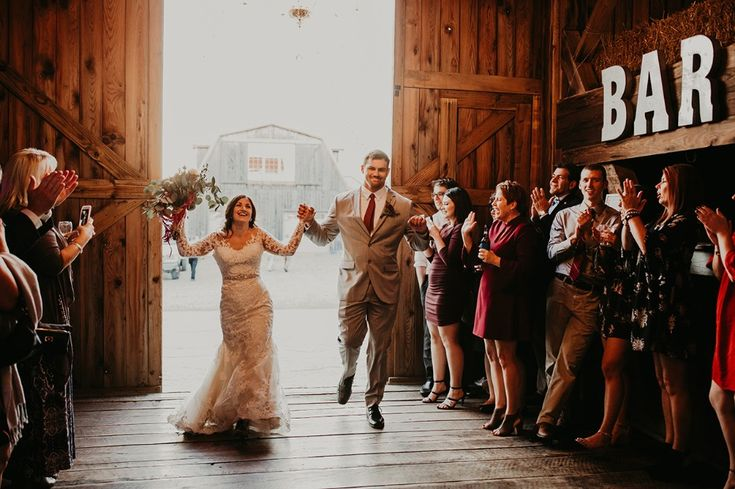 Grand entrance as husband and wife