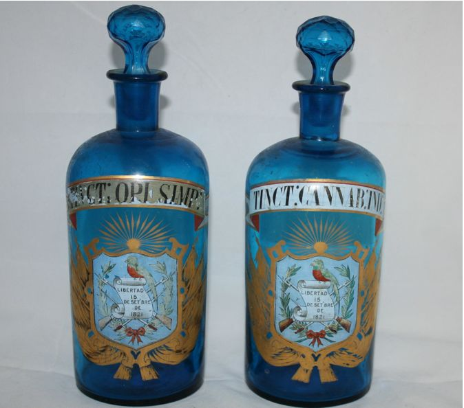 Antique opium and cannabis apothecary bottles.