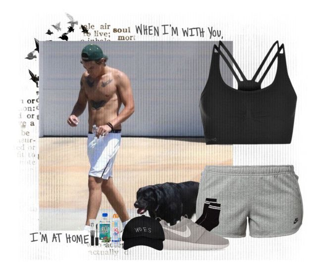"""""""Running with Harry and our dog"""" by miriamofficial5 ❤ liked on Polyvore featuring NIKE, USA Pro, Kiss My Face, Monki, Eyeko and October's Very Own"""