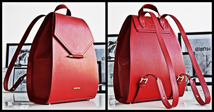 Ruby Red leather backpack.