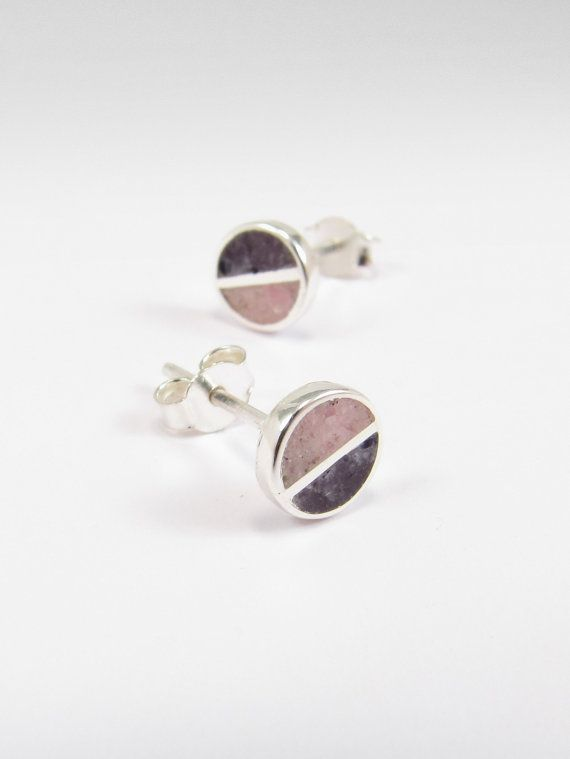 Sterling Silver Earrings  Pink and Purple   by maldonadojoyas, $20.00