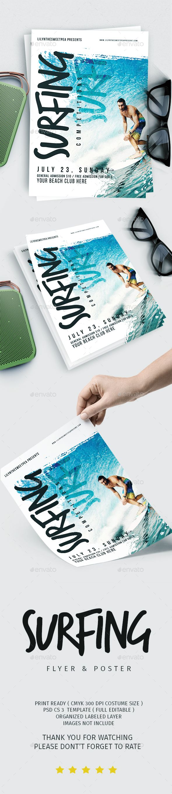 Surfing Competition #flyer & poster - #Events Flyers Download here: https://graphicriver.net/item/surfing-competition-flyer-poster/20181089?ref=alena994