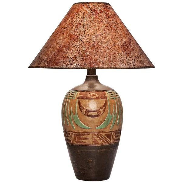 Universal Lighting and Decor Wild Marigold Handcrafted Light Southwest... ($190) ❤ liked on Polyvore featuring home, lighting, table lamps, lamps, brown, brown shades, hand made lamps, southwestern table lamps, universal lighting and decor and brown lamps