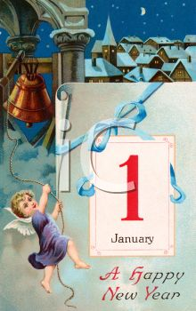 Vintage Happy New Year Clipart Illustration