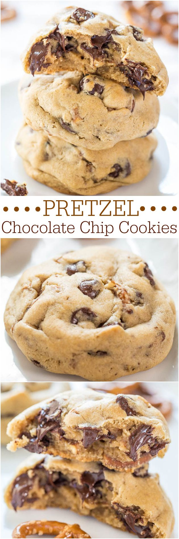Pretzel Chocolate Chip Cookies - Soft chocolate chip cookies packed with chocolate chips and crunchy pretzels!! Salty-and-sweet all in one!! Recipe by @averie