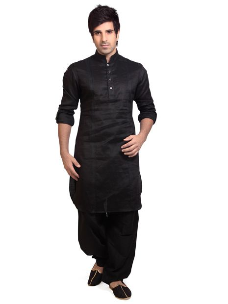 MCD883 : Black Cotton Silk Pathani Suit