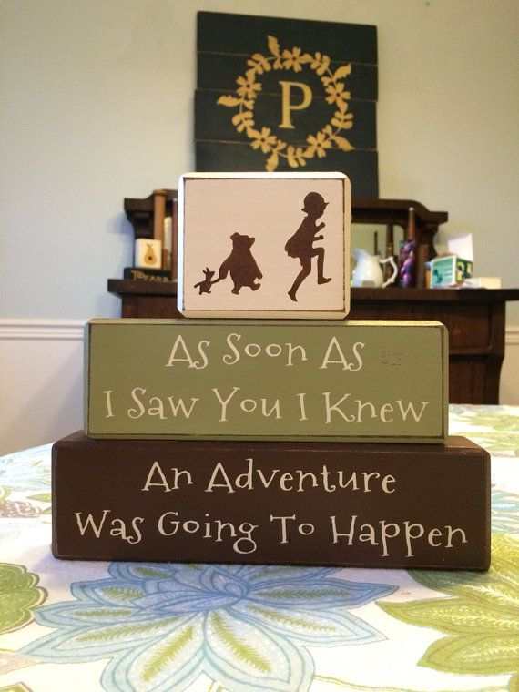 Winnie the Pooh classic pooh baby shower gift birthday centerpiece nursery playroom disney classic pooh distressed wood blocks baby