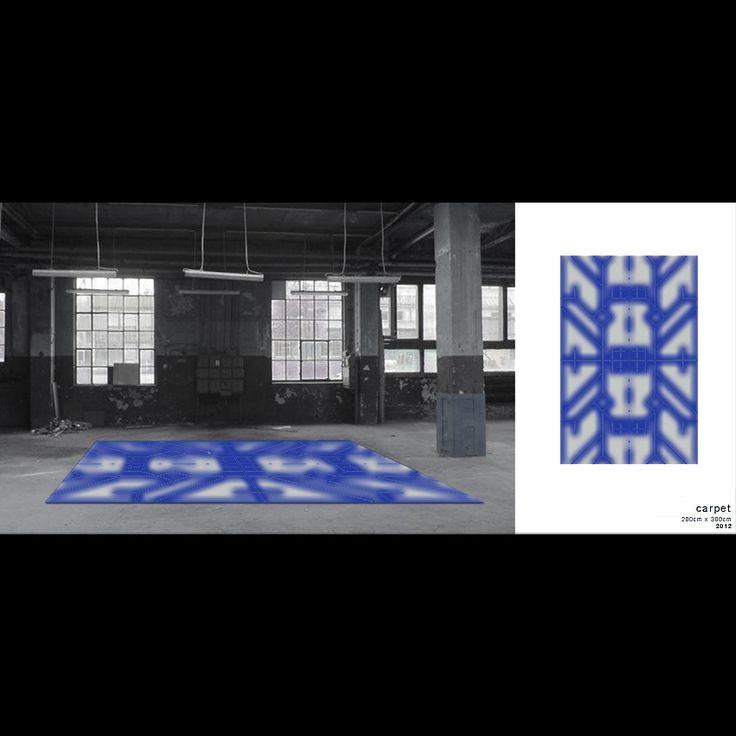 Carpet. Sometimes I designed the products with surface patterns. I want to show you my carpet design of 2012. Rectangular shape, geometric patterns, in the colors gray and cobalt. Presented in an industrial space.