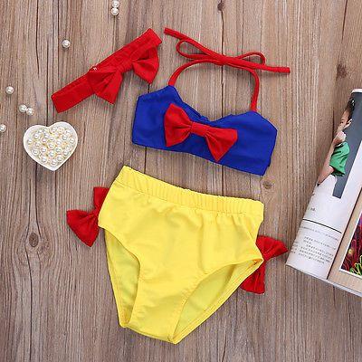 Bebé Chicas NIEVE BLANCA Bikini conjunto Swimwear Swimsuit Traje De Baño Cosplay 2-7y
