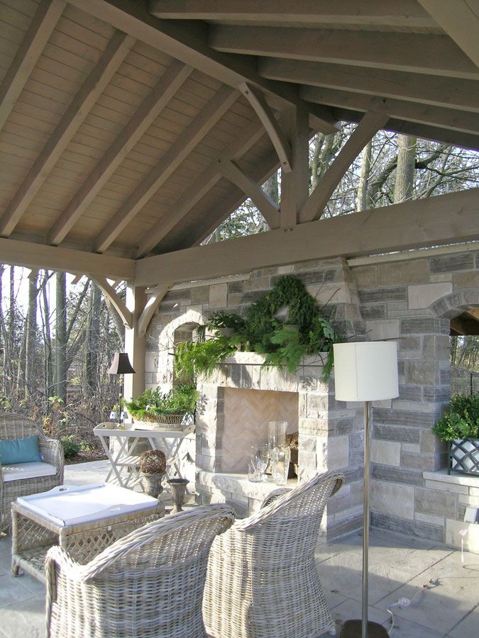 beautiful outdoor space - love the ceiling & fireplace