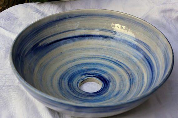 Small Vessel Sink Ceramic handthrown Sink Ocean