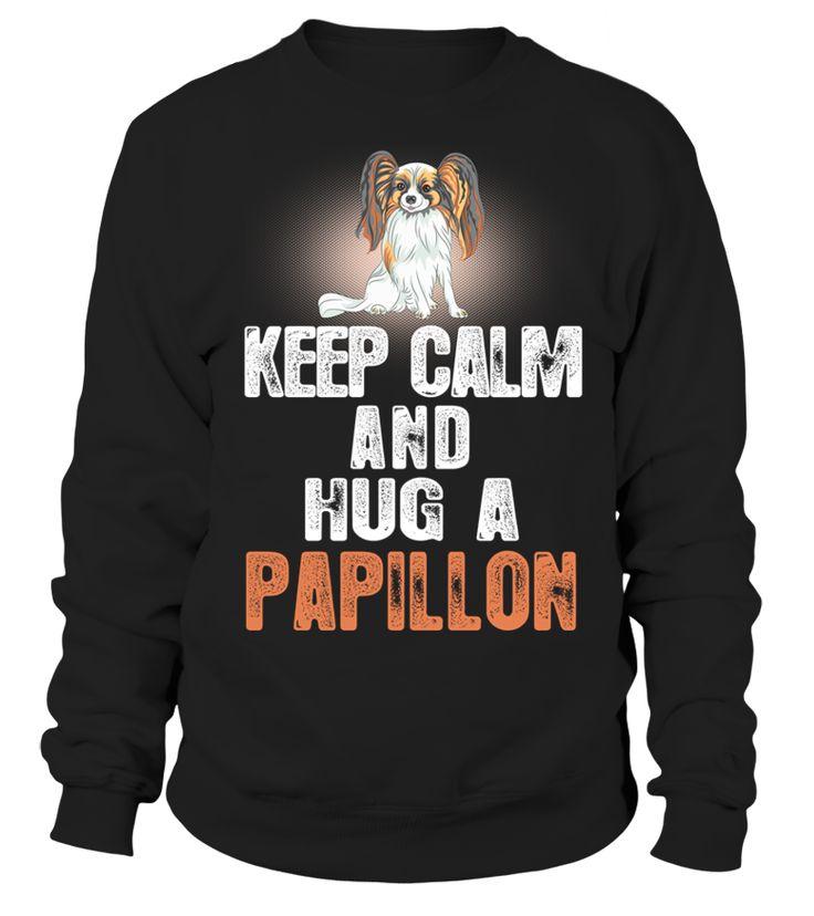 Zachowaj Spokój Przytulić Za Papillon Pies  Funny Papillion T-shirt, Best Papillion T-shirt