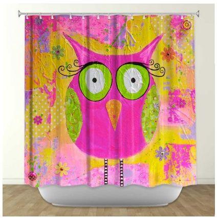 Hootie the Owl Pink Fabric Shower Curtain – showercurtainhq.com