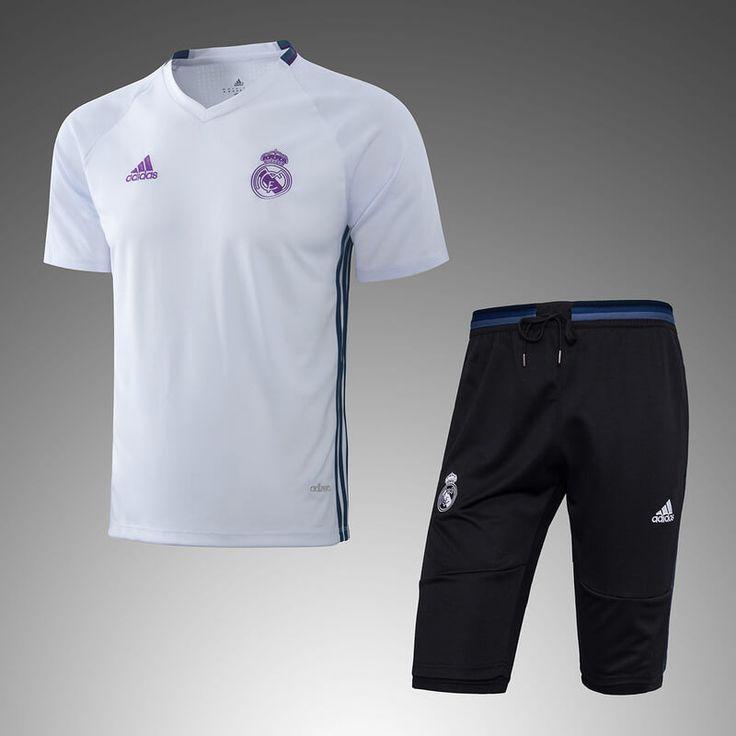 Real Madrid 2016/17 White Short Sleeve Men Tracksuit Slim Fit