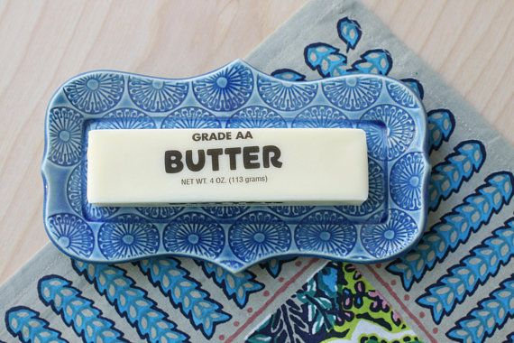 blue butter dish/ small tray