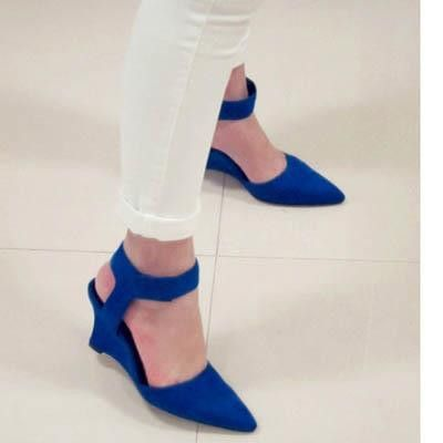 Women Wedges Shoes Fashion Brand Ankle Pointed Toe Pumps Sexy Sandals High Heels Black Blue Orange White Women Shoes Summer