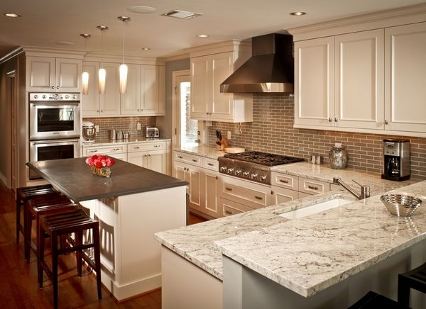 white cabinets Bianco Romano granite countertop kitchen renovation ideas