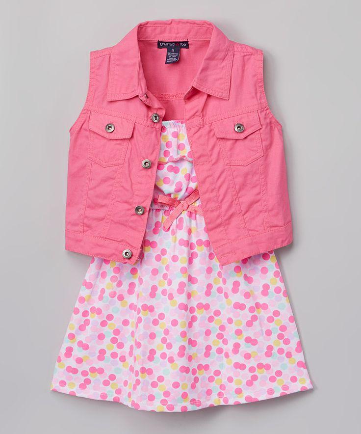 Limited Too Pink Floral Yoke Dress & Denim Vest - Infant, Toddler & Girls by Limited Too #zulily #zulilyfinds