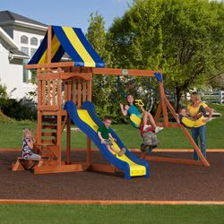transform your outdoor space into a playground for your children with this durable cedar swingset featuring an eightfoot slide a rock wall ladder