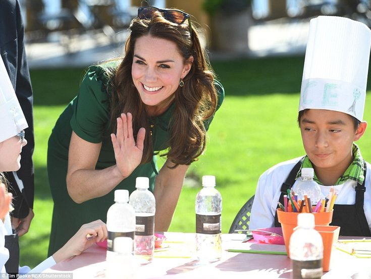 The Duchess of Cambridge speaks with local schoolchildren as she continues her engagements in Kelowna on Tuesday