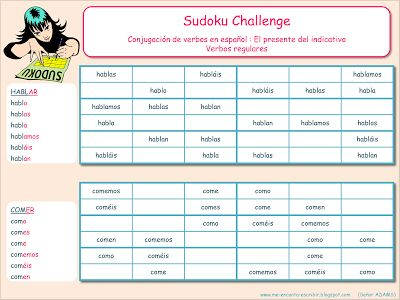 Me encanta escribir en español: Sudoku Challenge : El presente del indicativo