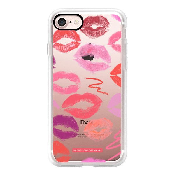 Lipstick Kisses MakeUp MUA Cosmetics Love Romantic Kiss Lips Pink Red... (73 BAM) ❤ liked on Polyvore featuring accessories, tech accessories, iphone case, iphone cover case, red iphone case, iphone cases, apple iphone case and slim iphone case
