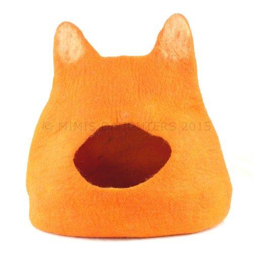 Cat Bed, Cat Cave, Pet Bed, Cat Igloo, Cat House Handmade Wool Felt Cat Home - Orange