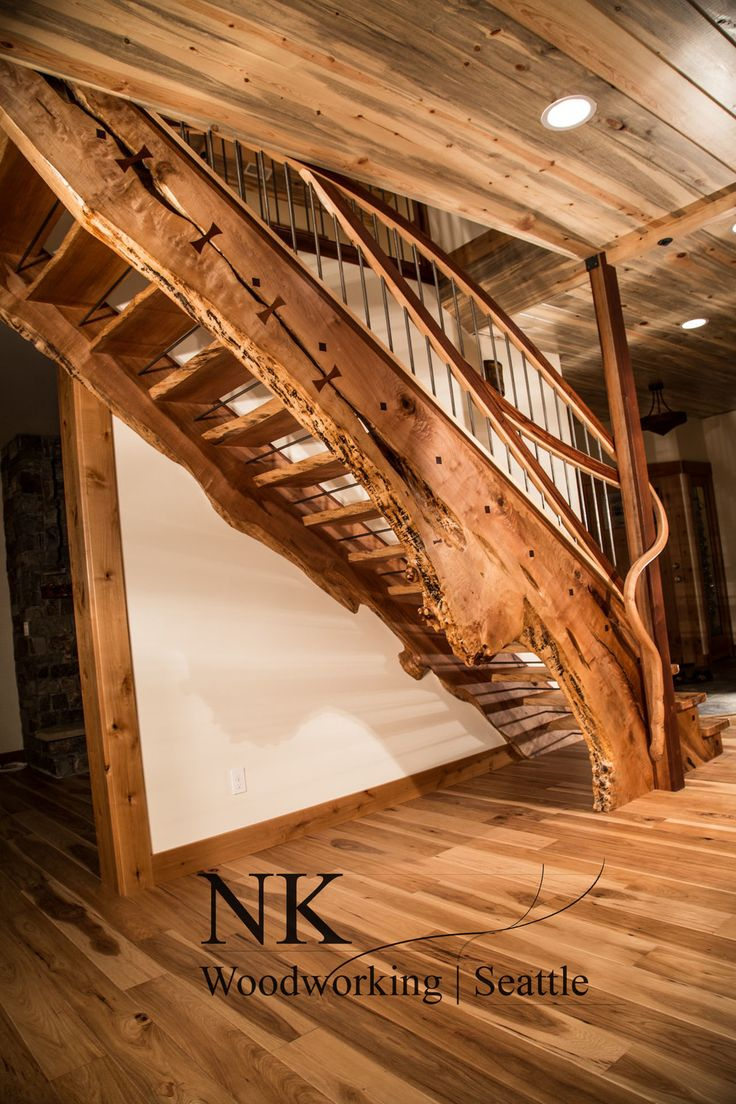 Curved Staircase | wood slab stair case is amazing! Absolutely inspiring! #slabs #staircase #dreamhome
