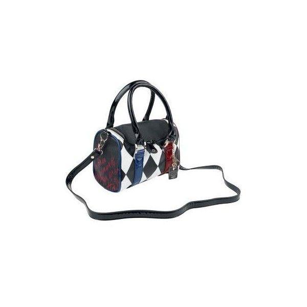 Harley Quinn Handbag (£52) ❤ liked on Polyvore featuring bags, handbags, metal purse, plaid handbag, embellished purse, striped purse and square handbags