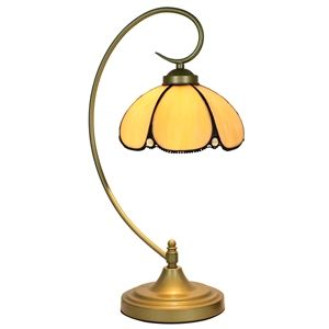 European Pastoral Retro Style Table Lamp Metal Bending Pipe Round Base Light Yellow Bedroom Living Room Dining Room Lights 8inch Lampshade