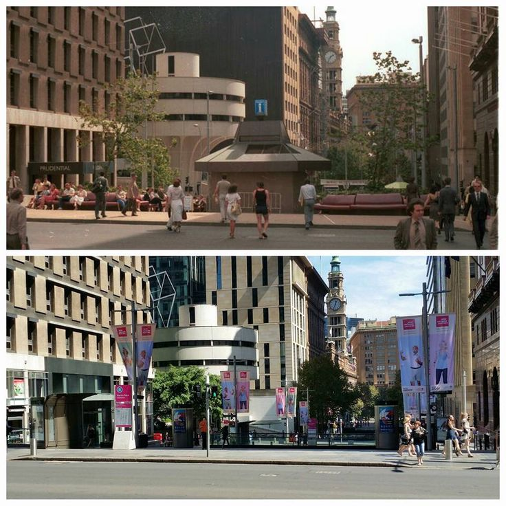 Martin Place from Elizabeth Street looking down towards George Street in 1983 and 2016. [City of Sydney Archives > Allan Hawley. By Allan Hawley]