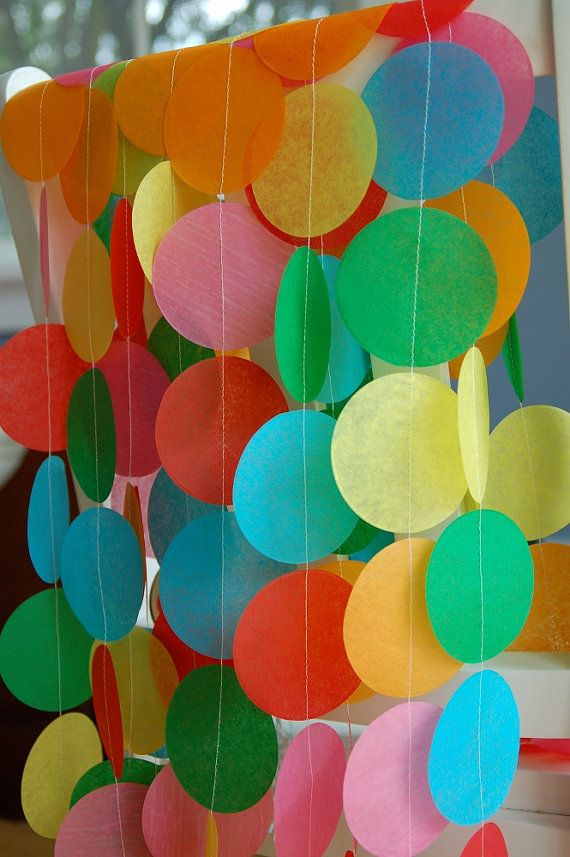 Etsy - Rainbow Tissue Garland.  This could be a cute decoration for their party, done in Very Hungry Caterpillar colors.