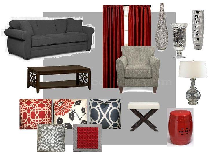 Red and grey color scheme for living room ) Modern Design - grey and red living room