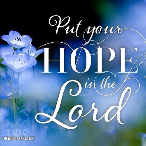 thewordshared:  O Israel, hope in the Lord From this time forth and forever. ~Psalms 131:3