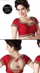 Style statement saree blouse for yor elite parties and wedding functions. This lovely red chanderi designer padded blouse nicely designed with kasab embroidery work. This is a custom made design which can be made in any color and size...