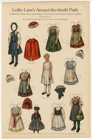 Lettie Lane's Around the World Party: German Girl  paper doll  1910  Artist:  Sheila Young