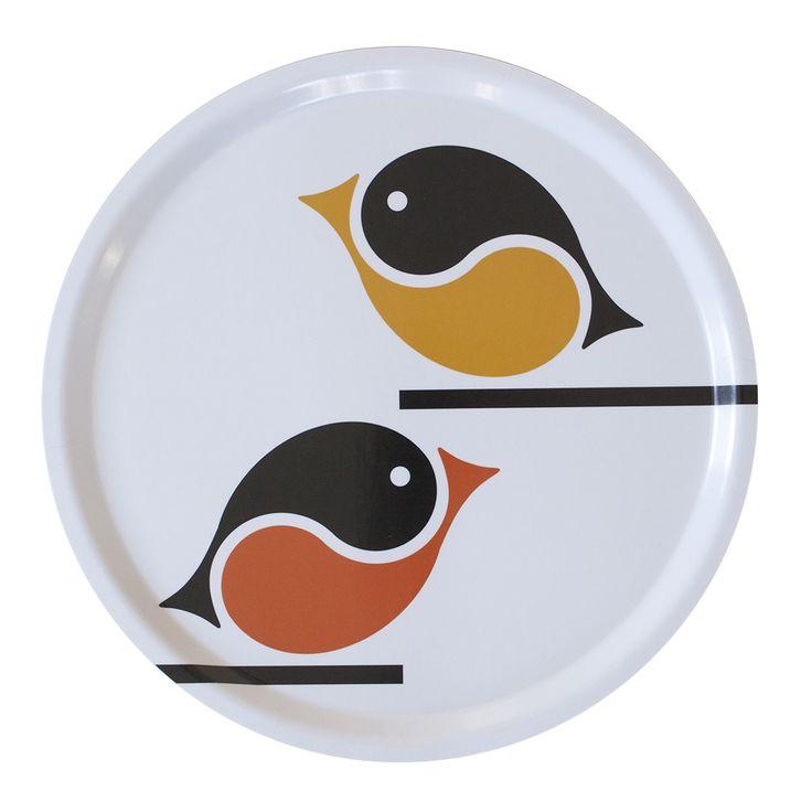 Småfåglar Talgoxe + Domherre bricka