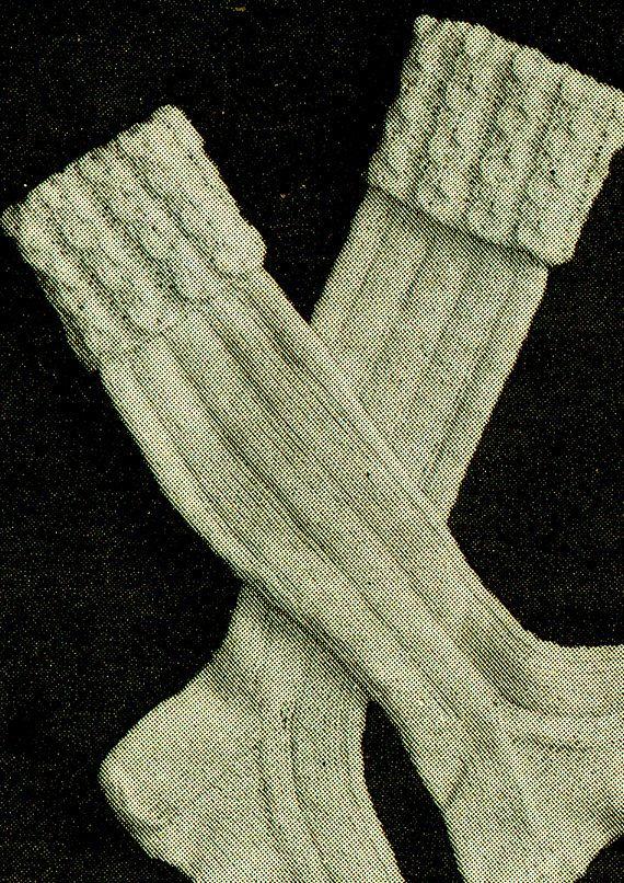 PDF Vintage Mens FISHERMAN'S Socks Knitting Pattern ARAN