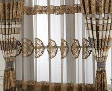 Translúcido Pura Bule/Marrom e branco Stripe Cortinas de Tule Cortinas Para sala de Estudo sala de estar quarto de Cama em estilo Europeu(China (Mainland))