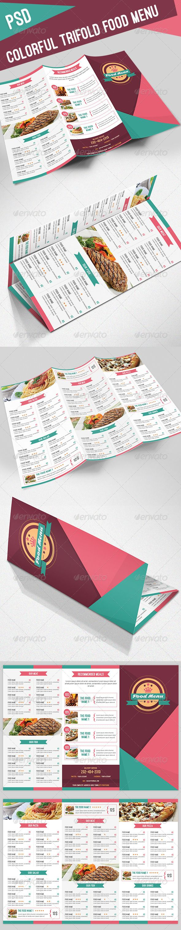 Colorful Trifold Food Menu Template #design #speisekarte Download: http://graphicriver.net/item/colorful-trifold-food-menu/8144768?ref=ksioks