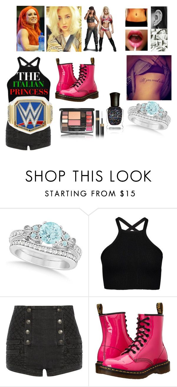 """Leah def Alexa Bliss in the steel cage and is p*ssed when she finds out that Mickie James is La Luchadora (Her and Bex attacker)"" by thefuturemrsambrose ❤ liked on Polyvore featuring Allurez, Pierre Balmain, Dr. Martens and Deborah Lippmann"