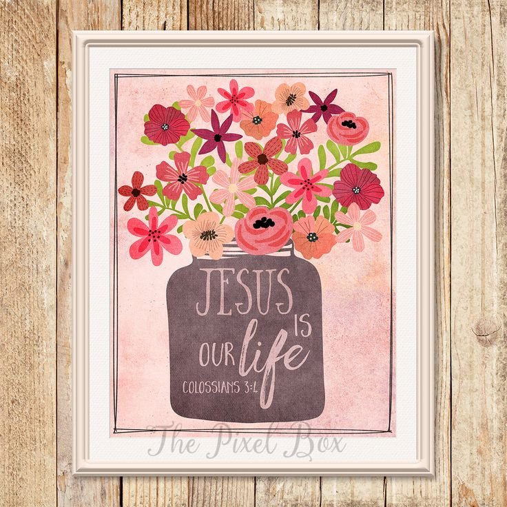 Printable art Inspirational Wall art Poster Quote Motivational saying Flowers printable Christian quote Typography Love Life by ThePixelBox on Etsy