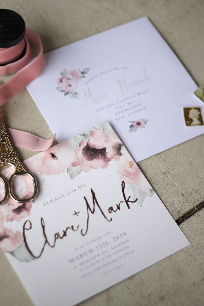 Best 25 wedding invitation design ideas on pinterest wedding just my type wedding stationery and wedding invitation design nz pretty floral pink gold watercolour roses stopboris Image collections